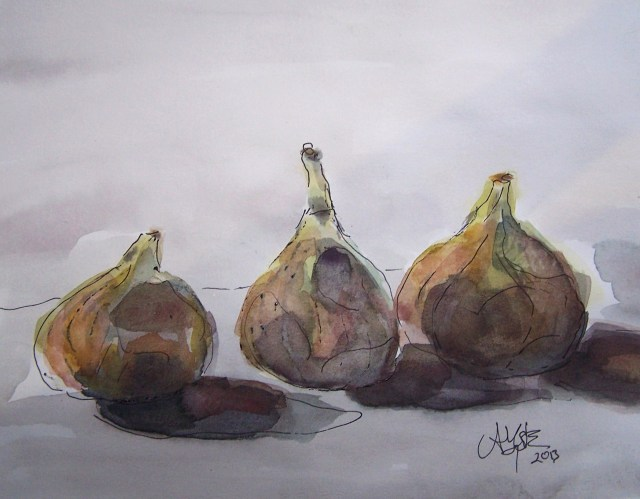Watercolor-Three figs