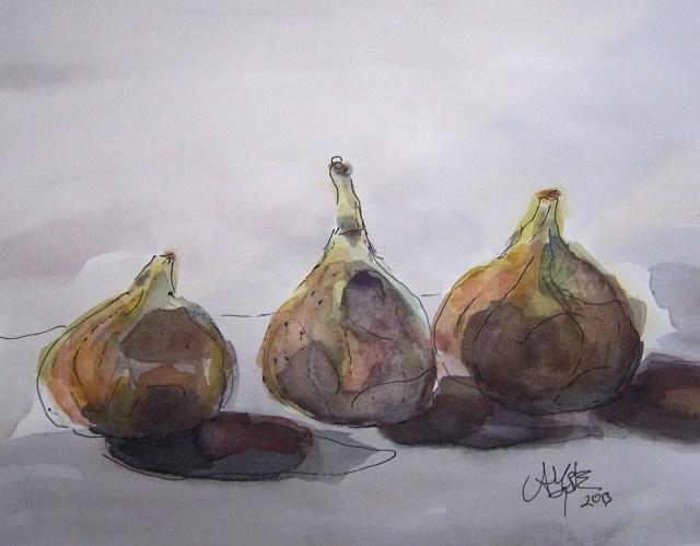 Watercolor-Three figs