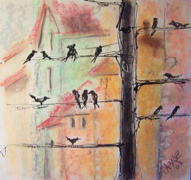 Birds on the tree- Soft pastel on paper