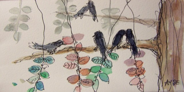 Watercolor on paper- Birds