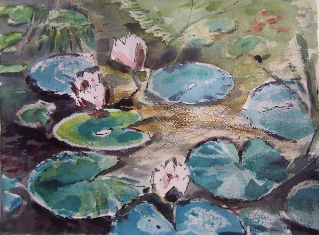 Watercolor-Lotus blooms