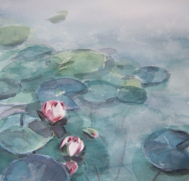 Watercolor on cotton-lotus