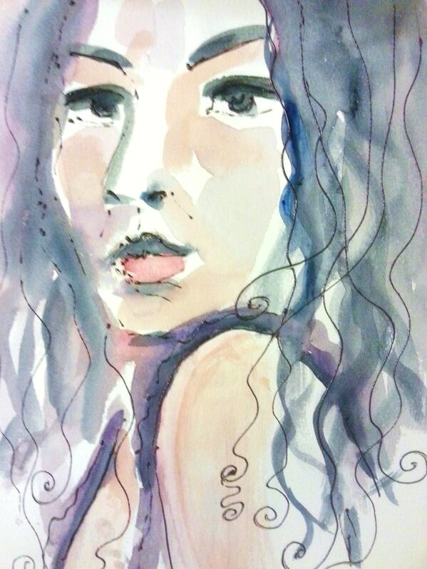 watercolor on paper-selfportrait-I want to touch people with my art