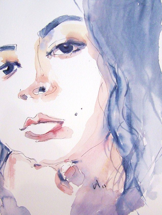 Watercolor on paper-selfportrait-Journey