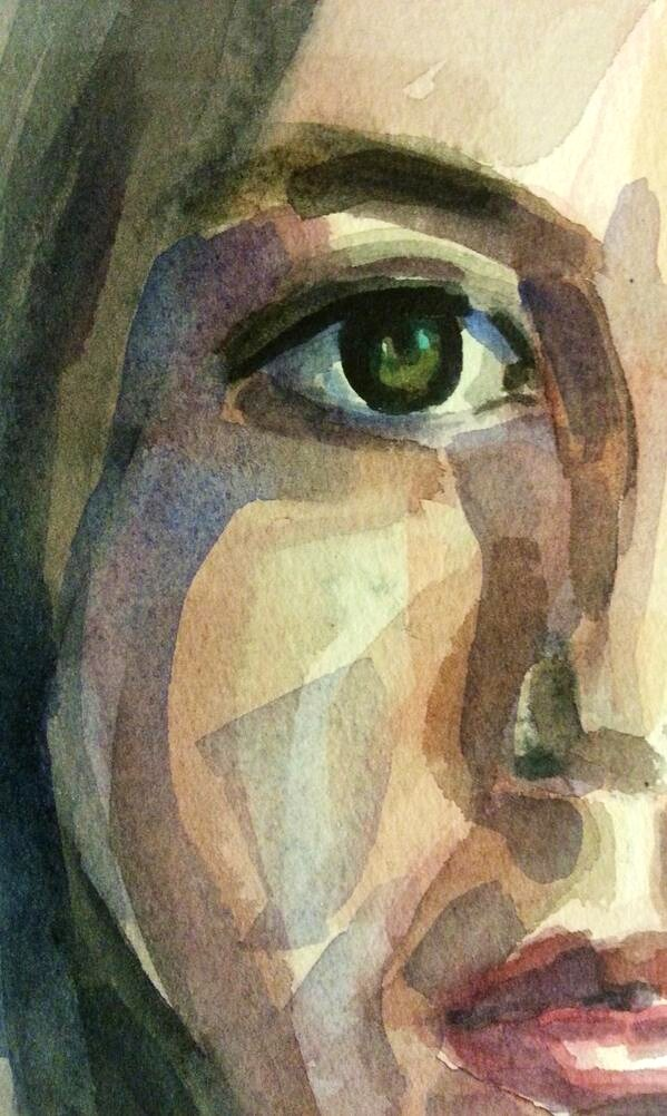 Watercolor on paper-selfportrait-solitude