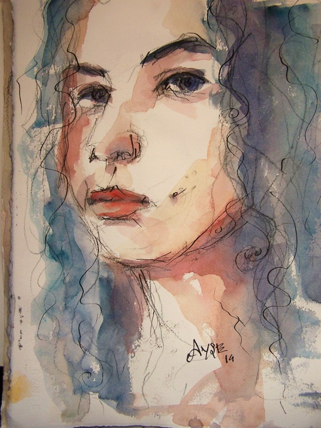 Watercolor-selfportrait-You dance inside my chest