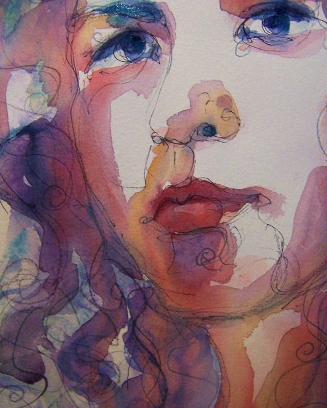 Watercolor-selfportrait-Hidden Music-detail