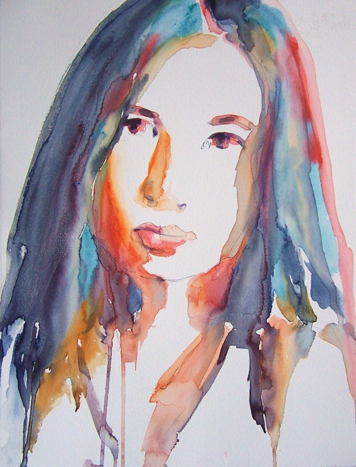 watercolor on paper by Ayse Juaneda-selfportrait-lotus
