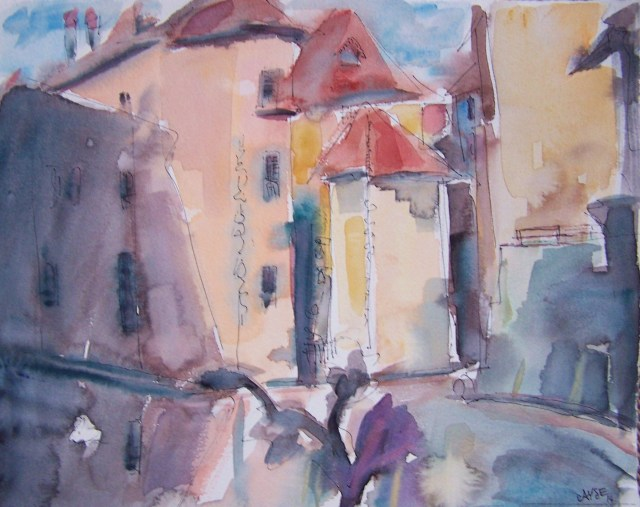 Watercolor on paper-france-annecy-fun