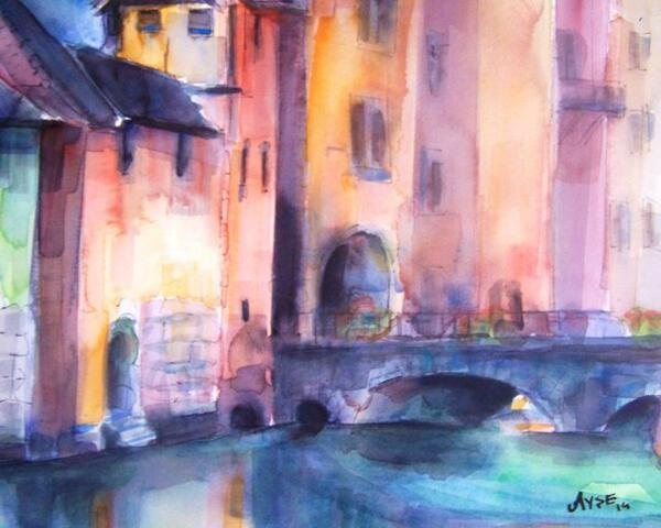 watercolor on paper- annecy-france