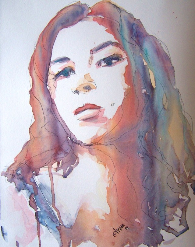 watercolor-selfportrait-embrace the fire