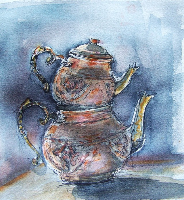 watercolor on paper-turkish teapot