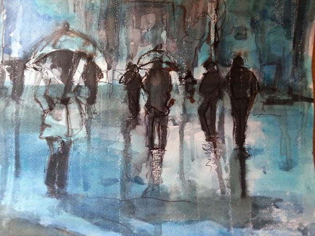 Watercolor-Kosova-Walking in the Rain