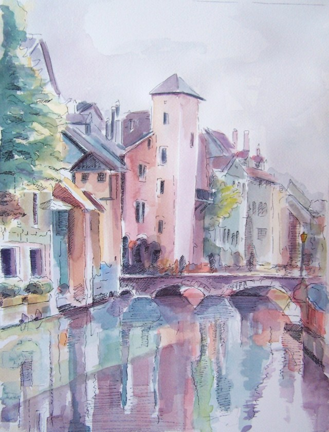 watercolor - annecy - france -  joy, peace and love