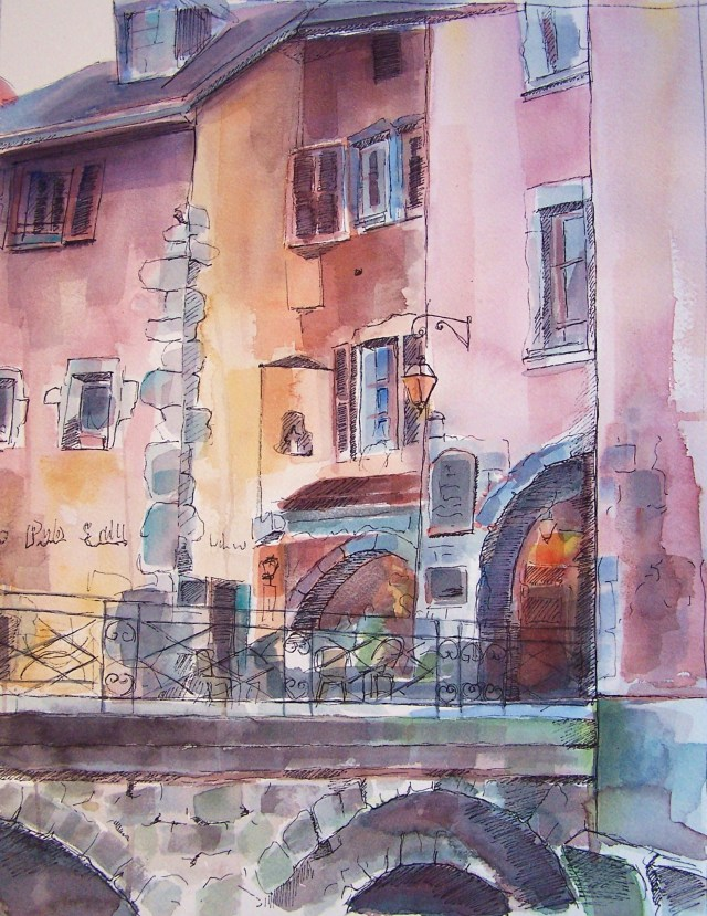 watercolor on paper a annecy - france - passage