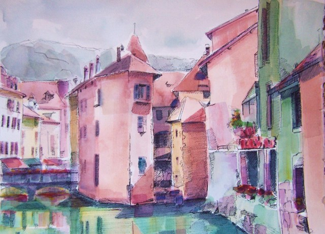 watercolor on paper – annecy – france – inner peace