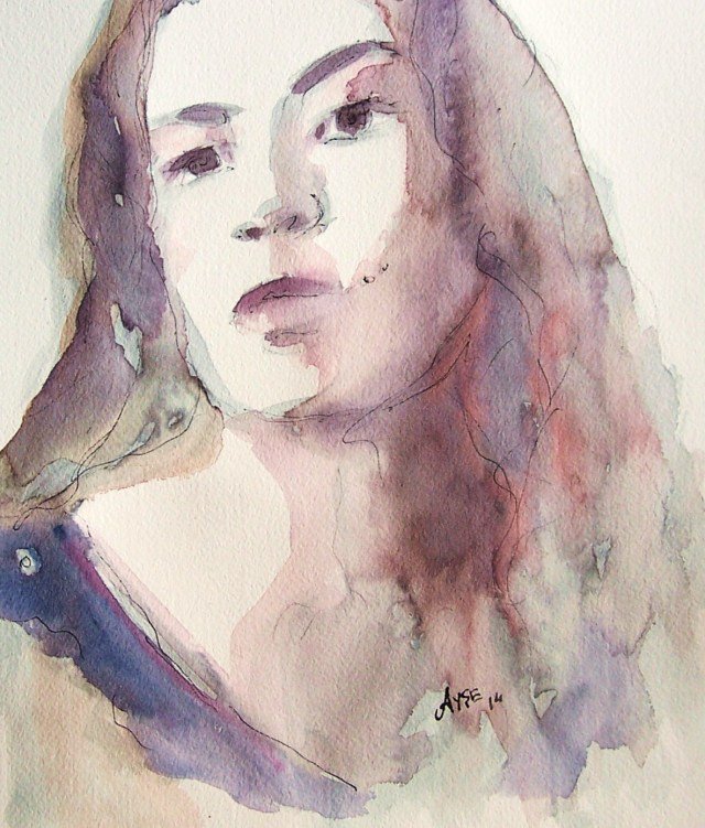 watercolor on paper - selfportrait- love, compassion and kindness