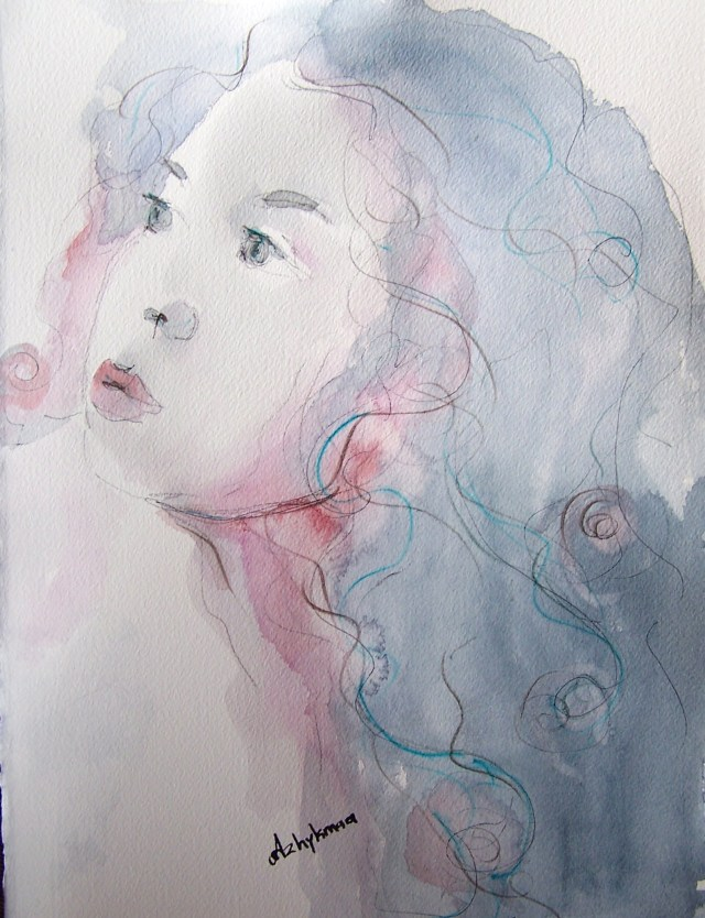 watercolor - selfportrait - Love means to reach for the sky