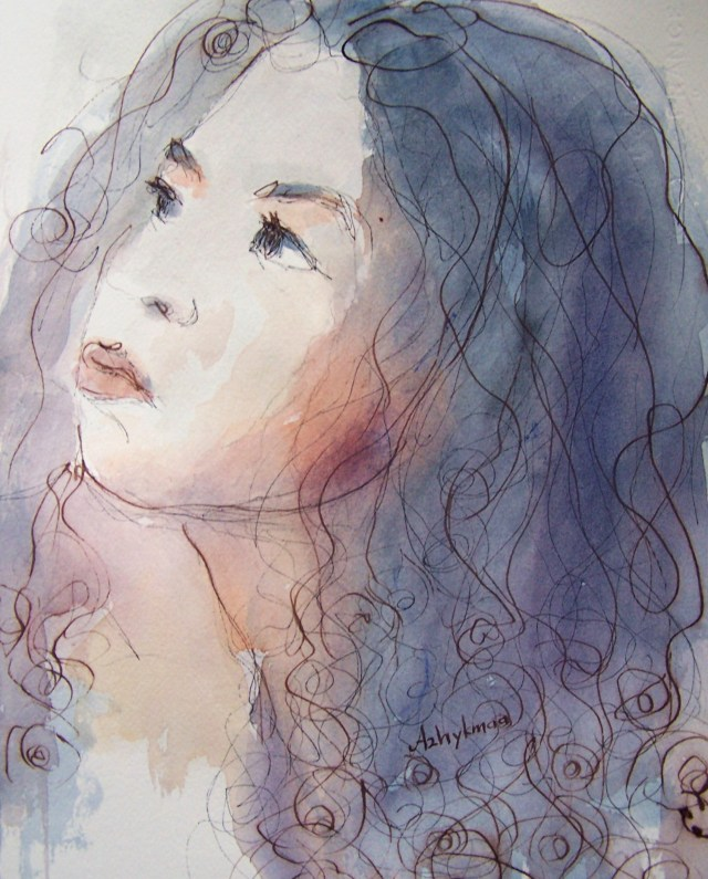watercolor - selfportrait - the garden of Love