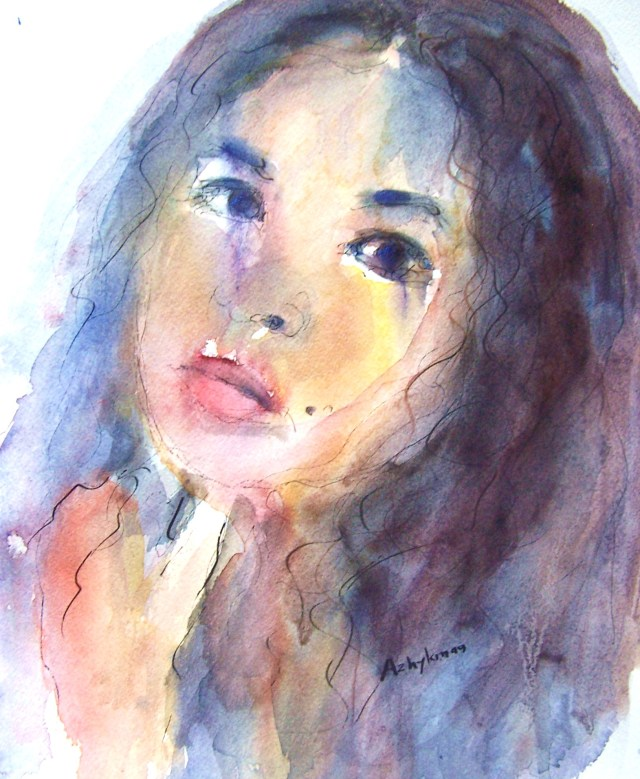 watercolor on paper - selfportrait