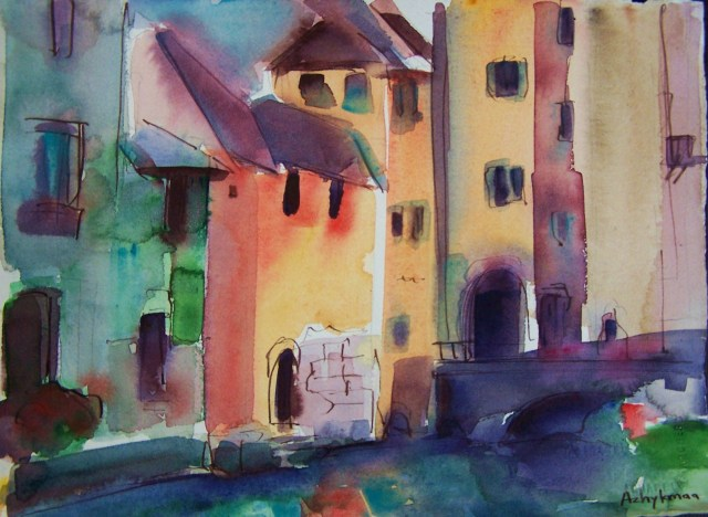 watercolor - annecy - france - there is no blue without