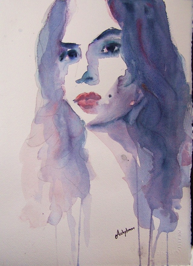watercolor - selfportrait - look inside