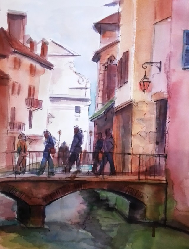 watercolor on paper - annecy - france - peace in your mind