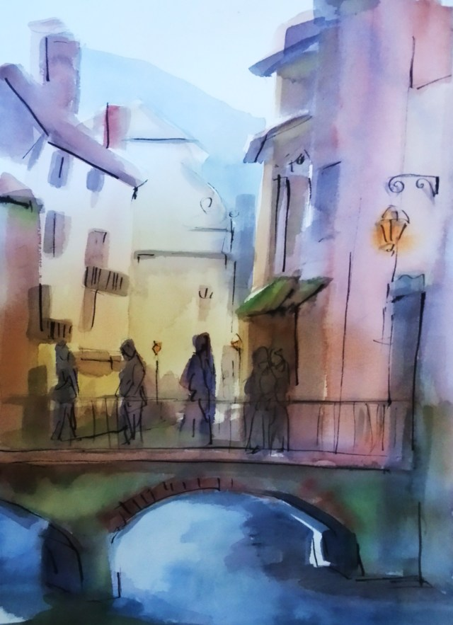 watercolor on paper - annecy - france -  happiness
