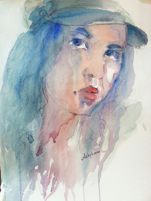 Watercolor - selfportrait - we will walk