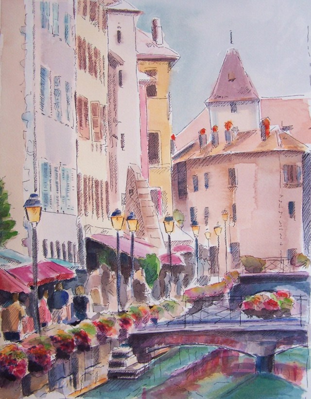 watercolor on  paper - annecy - france