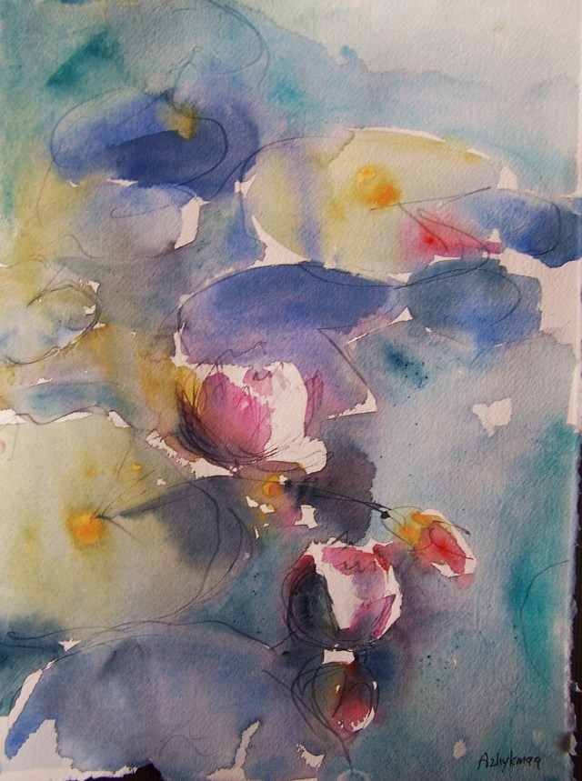 Water Lilies – watercolor - knowing your own darkness