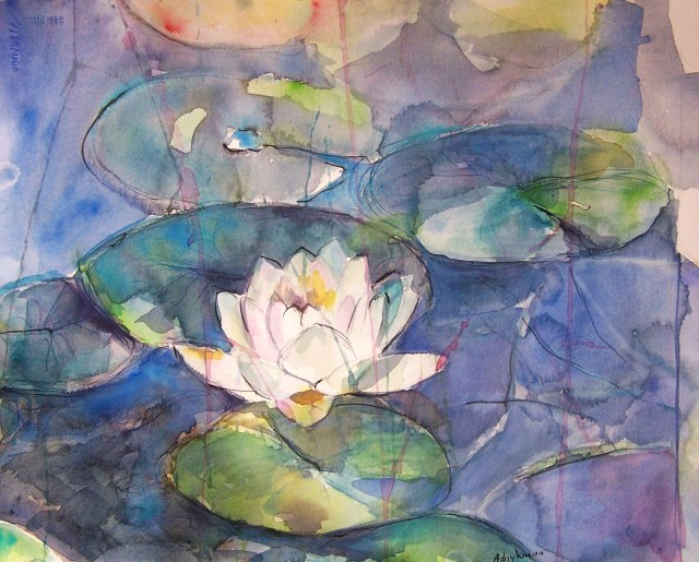 watercolor - water lily - In the droplets of dew
