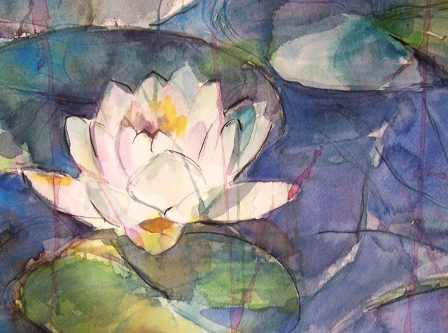 watercolor - water lily - the dust of  my soul