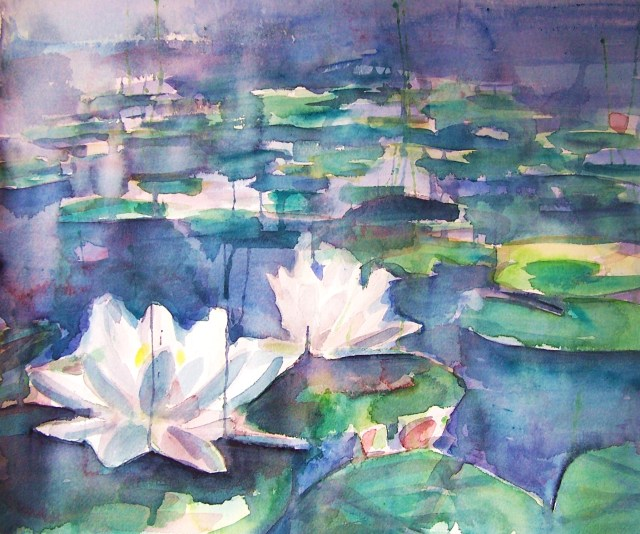 watercolor – water lilies – I Do Not Love You Except Because I Love You
