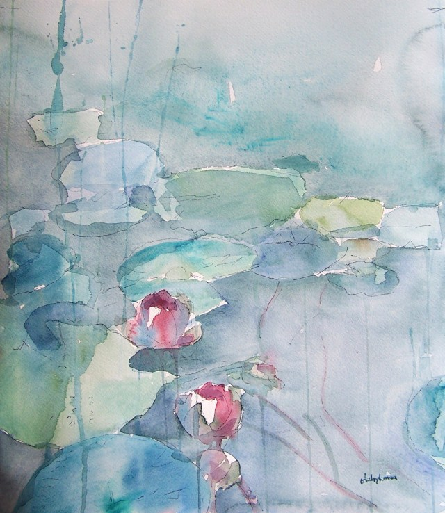watercolor - water lilies - you feel a river moving in you, a joy