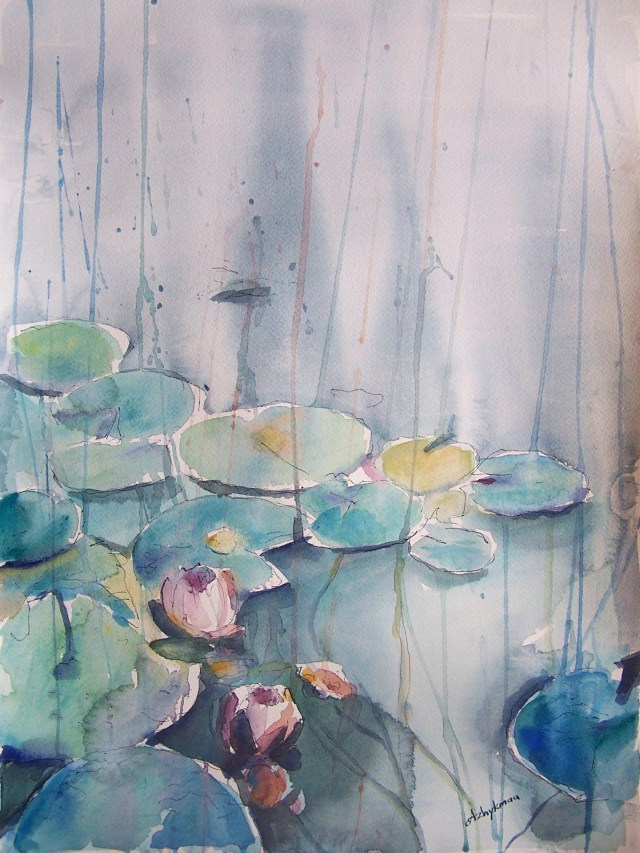 watercolor - water lilies - It is rain that grows flowers, not thunder