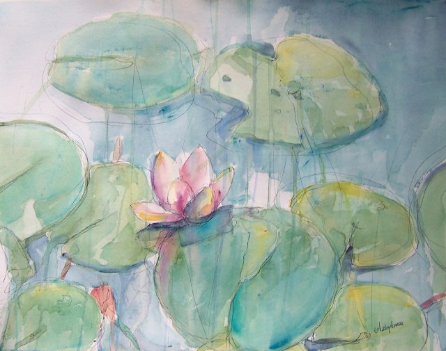 watercolor - water lilies - Don't search for heaven and hell in the future