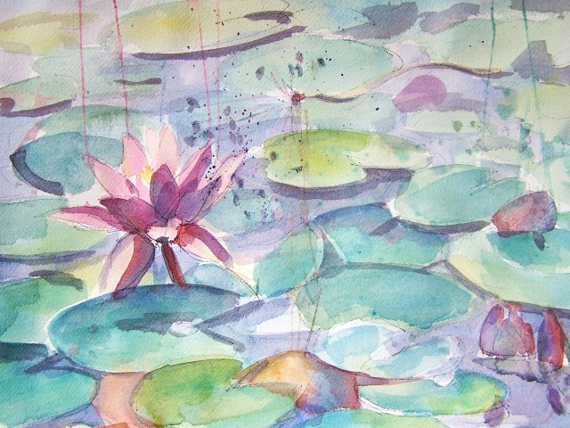 watercolor - water lilies - never lose hope
