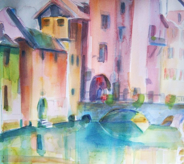 watercolor - annecy - france - many of the faults you see in others