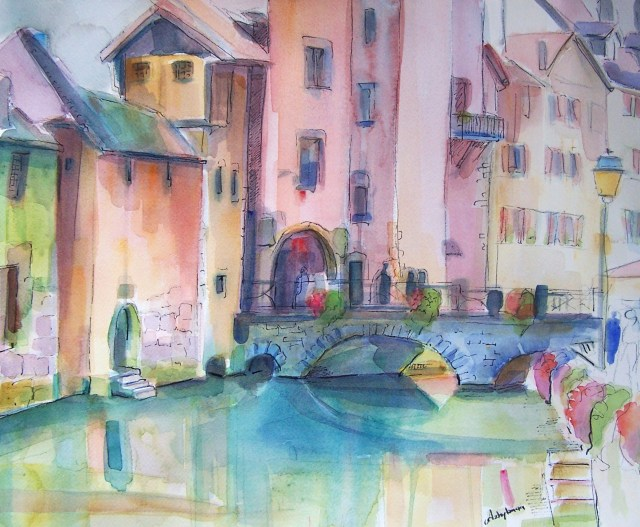 Watercolor - Annecy - Last night as I was sleeping