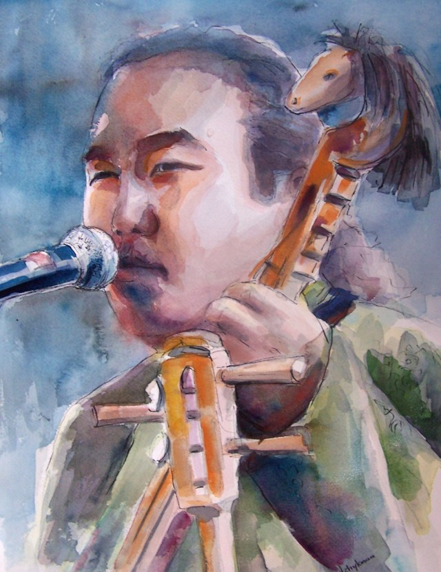 Watercolor on paper-Radik Tyulyush-Tuvan Throat Singer