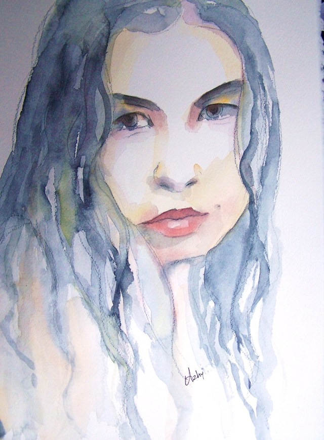 watercolor on paper-portrait -We merely dropped leaves