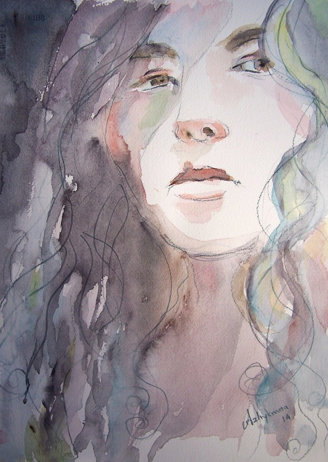 watercolor on paper-selfportrait-Change your heart to change the world