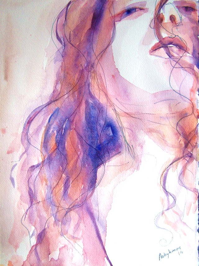 watercolor on paper-portrait-lose myself in you