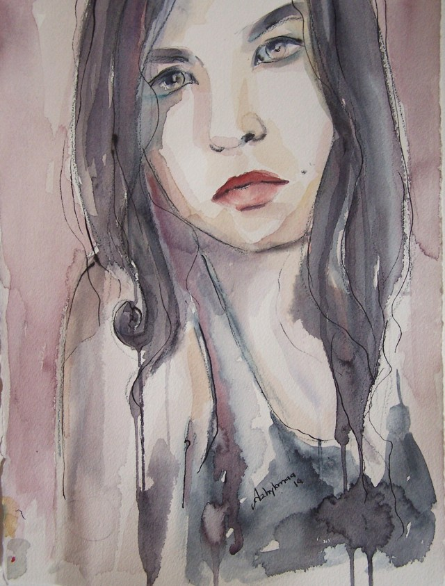 watercolor on paper-selfportrait- let your mind be free