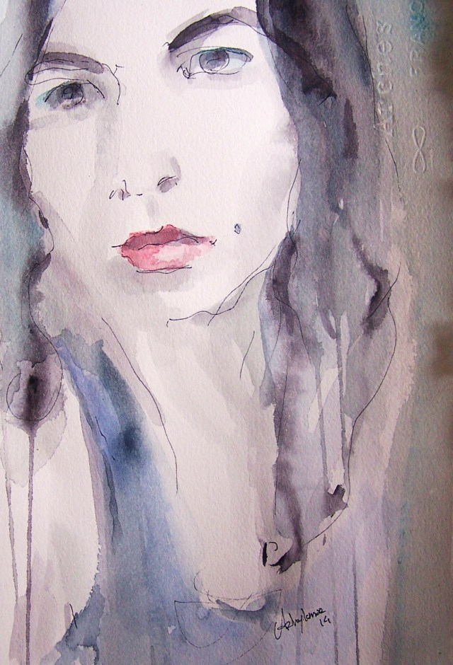 watercolor on paper-portrait-Do not feel Lonely