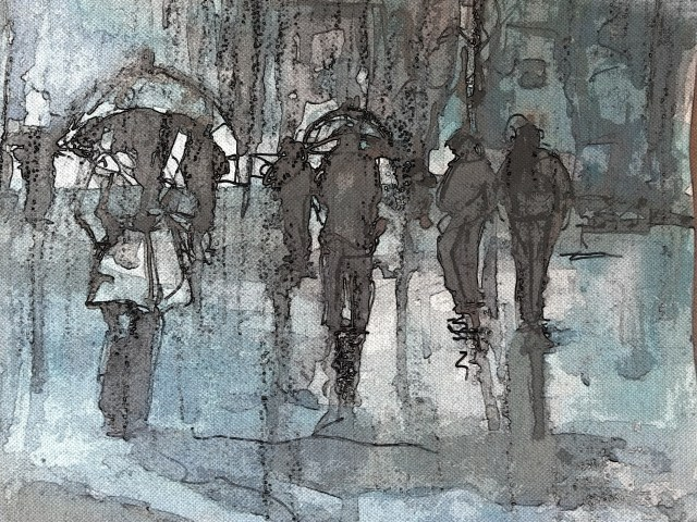 watercolor-mixed media-rain-painting by ayse juaneda
