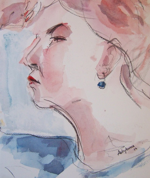 watercolor on paper-selfportrait-do not feel  lonely