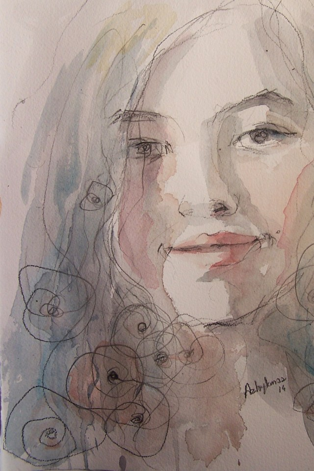 watercolor on paper-portrait-bloom