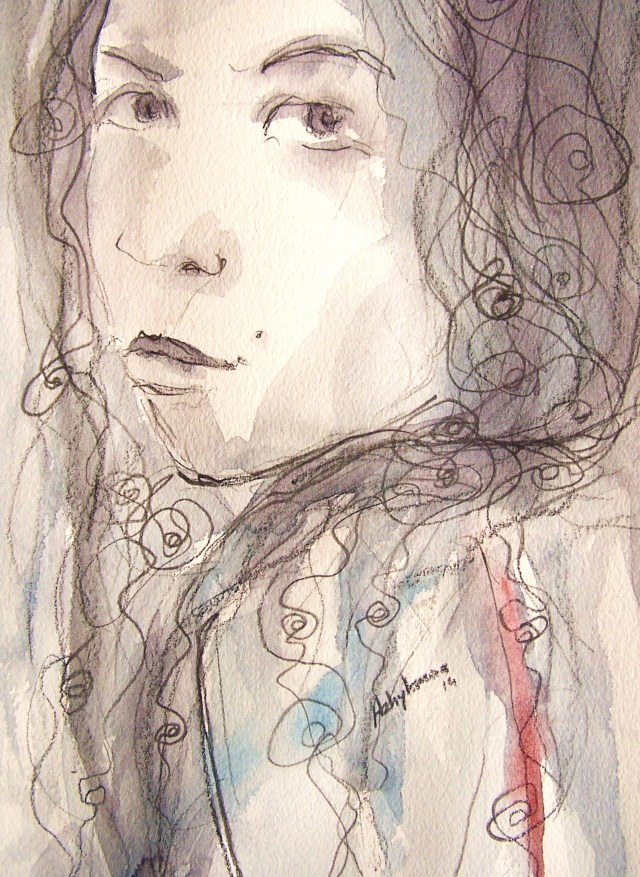watercolor on paper-selfportrait-don't grieve